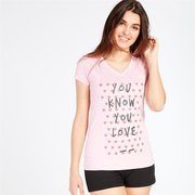 Camiseta Negra Pico Up Stamps Mujer
